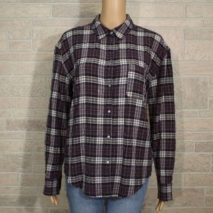 Elizabeth & James Carine Crinkled Plaid Shirt Top
